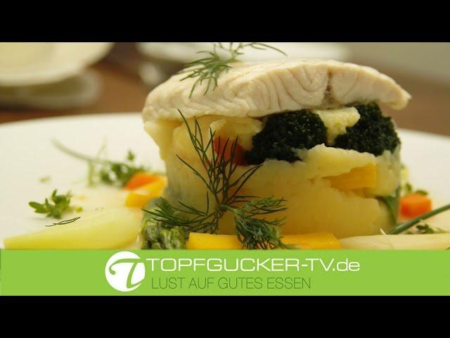 Pochiertes Störfilet auf Kartoffel- Gemüsestampf
