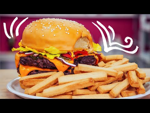How To Make A CHEESEBURGER CAKE With Chocolate Patties Buttercream Mustard and Candy