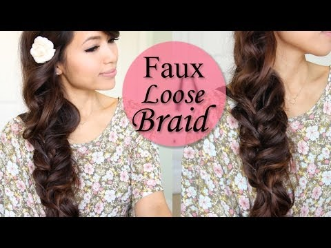 How to: Faux Loose Braid Curly Hairstyle for Long Hair Tutorial