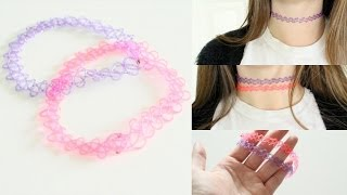 DIY 90's Stretchy Tattoo Choker Necklace - YouTube