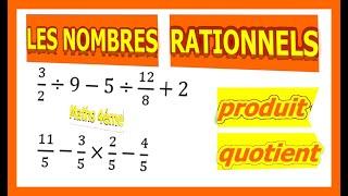 Maths 4ème - Les nombres rationnels Produit et Quotient Exercice 23