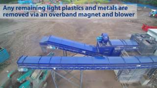 BlueMAC waste reycling plant and Powerscreen wash plant processing C&D waste