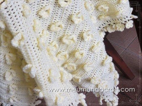 uncinetto - come creare una copertina con fiori in rilievo