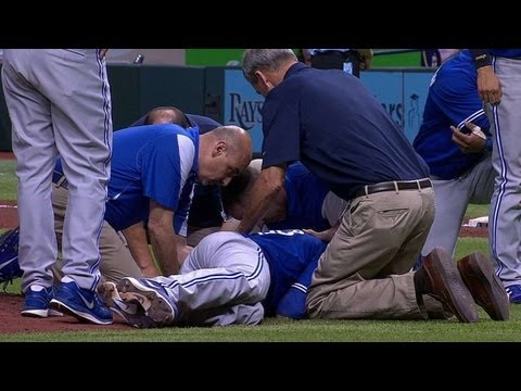 happ - 5/7/13: J.A. Happ is struck in the side of his head by Desmond Jennings' line drive and leaves the game with an injury in the second inning Check out http://...