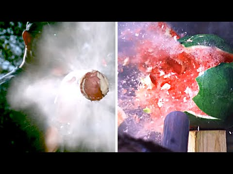 Destroying Watermelons with a Potato Gun in Slow