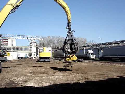 Видео работы магнитного комплекса на экскаваторе