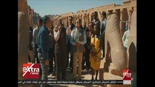 الرئيس السيسي يقوم بجولة في معبد فيلة بأسوان بصحبة مجموعة من الشباب العربي والإفريقي