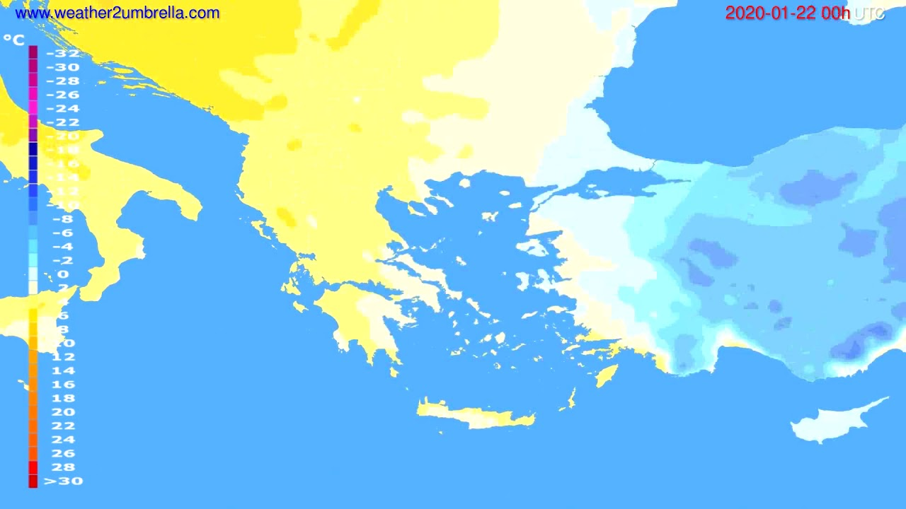 Temperature forecast Greece // modelrun: 00h UTC 2020-01-21