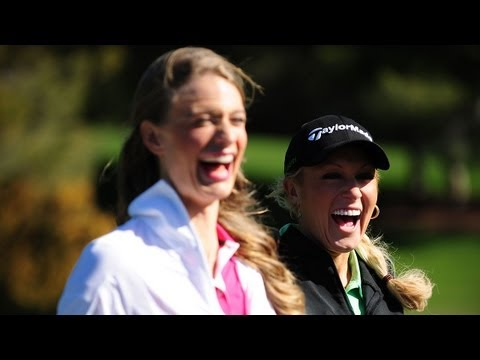 Natalie Gulbis gives golf lesson to Sports Illustrated Swimsuit model Julie Henderson