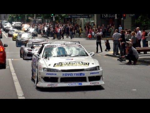 D1NZ Drift Cars Invade Queen Street, Auckland City - New Zealand 2012