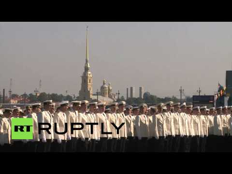 celebrates - Video ID: 20140727-020 W/S Stoykiy 304 M/S Stoykiy 304 C/U Stoykiy 304 C/U Vyborg submarine C/U Sailors on Stoykiy 304 C/U Navy personnel W/S Navy sailors in formation M/S Navy sailors in...