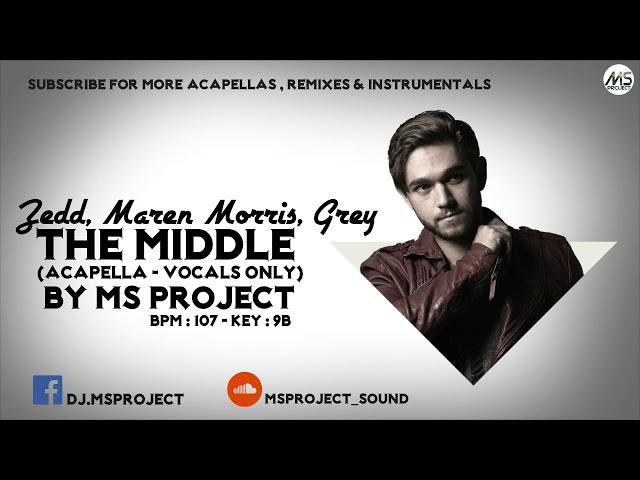 Zedd, Maren Morris, Grey - The Middle (Acapella - Vocals Only) + Off Inst