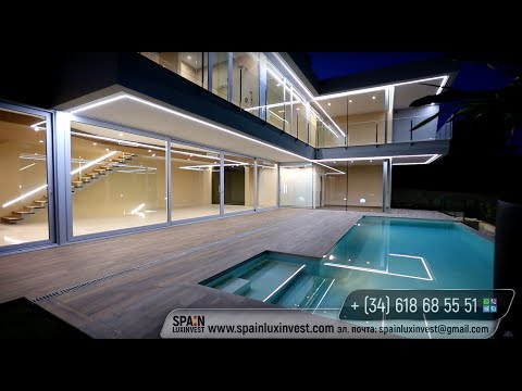 Luxury villa with sea views at the Costa Blanca in Spain. Modern high-tech style