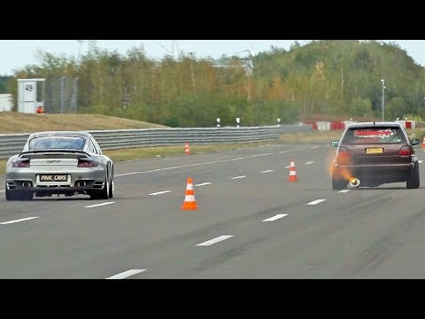 VW Golf Mk2 1200 HP vs Porsche 997 T 9FF - Race, BRUTAL Acceleration, LOUD Exhaust Sound