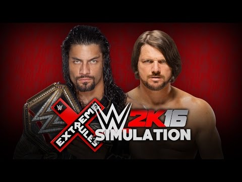 WWE 2K16 Extreme Rules Simulation: WWE World Title Match - Roman Reigns (c) v AJ Styles