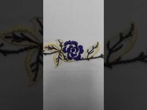 Passamanaria Bordada flores em azul 70mm