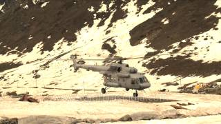 Kedarnath India  city photos : Indian Air Force Mi-8 helicopter lands at Kedarnath base