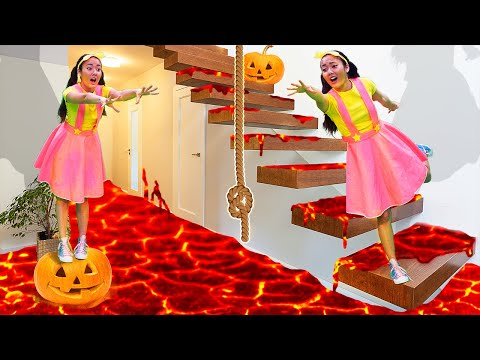 The Floor is Lava Halloween Challenge | Ellie's DIY Costumes for Trick or Treating