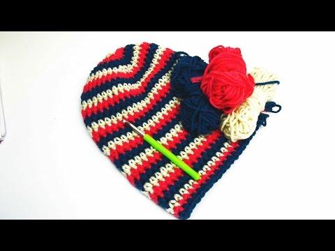 Häkeln Longbeanie Mütze Beanie Ringelmüzte Pink Weiß Blau DIY Muster Crochet