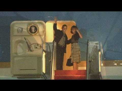 obama - Malia Obama joins the President and First Lady on Air Force One as they leave for the G8 summit in Northern Ireland. US President Barack Obama and European l...