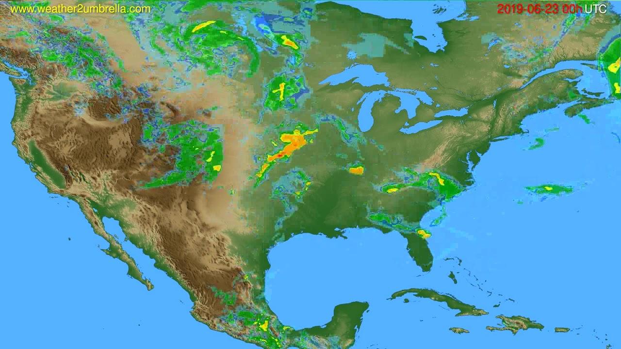 Radar forecast USA & Canada // modelrun: 12h UTC 2019-06-22