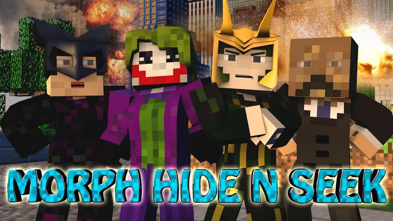 Minecraft   MORPH HIDE AND SEEK – SUPER VILLAINS MOD! (Superheroes, Loki, The Joker)