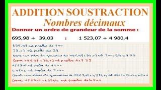 Maths 6ème - Additions et soustractions de nombres décimaux Exercice 13