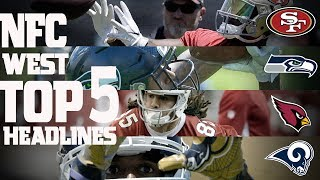 The NFC West Division's top 5 headlines from the offseason heading into this 2017 season. Subscribe to NFL: http://j.mp/1L0bVBuStart your free trial of NFL Game Pass: https://www.nfl.com/gamepass?campaign=sp-nf-gd-ot-yt-3000342Sign up for Fantasy Football! http://www.nfl.com/fantasyfootballThe NFL YouTube channel is your home for immediate in-game highlights from your favorite teams and players, full NFL games, behind the scenes access and more!Check out our other channels:NFL Network http://www.youtube.com/nflnetworkNFL Films http://www.youtube.com/nflfilmsFor all things NFL, visit the league's official website at http://www.nfl.com/Watch NFL Now: https://www.nfl.com/nowListen to NFL podcasts: http://www.nfl.com/podcastsWatch the NFL network: http://nflnonline.nfl.com/Download the NFL mobile app: https://www.nfl.com/apps2016 NFL Schedule: http://www.nfl.com/schedulesBuy tickets to watch your favorite team:  http://www.nfl.com/ticketsShop NFL: http://www.nflshop.com/source/bm-nflcom-Header-Shop-TabLike us on Facebook: https://www.facebook.com/NFLFollow us on Twitter: https://twitter.com/NFLFollow us on Instagram: https://instagram.com/nfl/