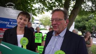 Caroline Lucas introduces Larry Sanders to Witney has the candidate for the Green Party standing in the West Oxfordshire town after David Cameron resigns. Pr...