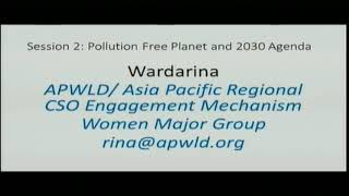 UNEA 3, GMGSF Session 2, Pollution Free Planet and 2030 Agenda: Wardarina's intervention