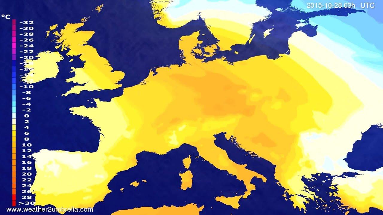 Temperature forecast Europe 2015-10-25