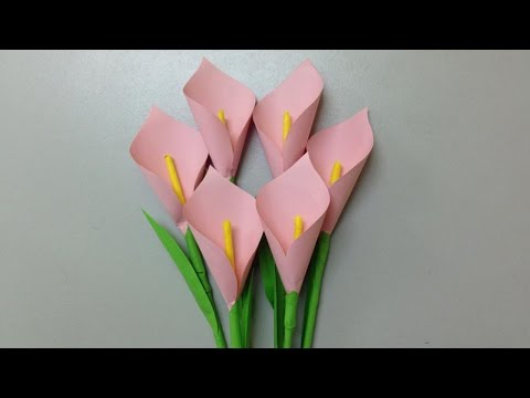 How to make calla lily paper flower | Easy origami flowers for beginners making | DIY-Paper Crafts