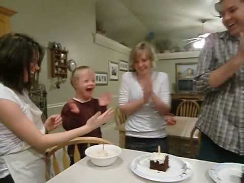 Watch video Down Syndrome Luke blows candles