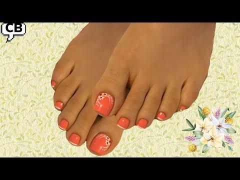 Uñas decoradas - Lindo  diseño para uñas de pies como decorar flor básica