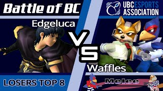 A nail biter of a set. Edgeluca (Marth) vs. Homemade Waffles (Falco/Fox) | SSBM LT8 | Battle of BC