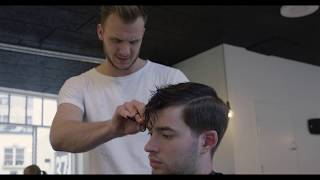 Men's short hair inspiration, for a modern look. See how to style your hair.★ Shop online! https://www.SlikhaarShop.com ★Follow, like, share and more: ⇨ Subscribe! http://bit.ly/SlikhaarTV⇨ Snapchat: SlikhaarTV⇨ Facebook: https://www.facebook.com/SlikhaarTVGroup⇨ Instagram: https://www.instagram.com/slikhaartv/⇨ Blog: http://www.slikhaarshop.com/news ⇨ Newsletter: http://eepurl.com/B6MqjIf you want to look fresh and sharp remember to have a new clean haircut every 3-5week its a great idea to make apointments at your barber or hairdresser a week or two ahead to make sure they have space for you. 9 out of 10 times men will have a shorter hairstyle through out the summer time and it means you have to visit your barber hairdresser more often like every 3-4weeks For short and medium hairstyles its always a great idea to get a hairproducts with strong hold and combine it with the use of a pre-styling spray and blowdryer. We have chosen a clay wax for this type of hairstyle because it will boost volume and give perfect control and a medium matte look for the most masculine and manly look.  Mud wax can be recommended as well because of the strong hold and matte finish. both products are easy to rinse off with hot water, tho we recommend a soap/shampoo wash. HAIRCUT MEASUREMENTSSides: 2-3cmBackhead: 2-4cmFringe / top front: 6-8cmTop back: 4-6cmPlease let us know what other videos you'd like us to make.PRODUCTS USED☆ By Vilain SKYLINEhttps://www.slikhaarshop.com/catalogsearch/result/?q=skyline☆ By Vilain FREESTYLERhttps://www.slikhaarshop.com/catalogsearch/result/?q=freestyler☆ By Vilain DYNAMITE CLAYhttps://www.slikhaarshop.com/by-vilain-dynamite-clay/Music byMusic: Eztmo - DreamsLocation: Slikhaar Studio mejlgade 37Hairdresser: CsobánBest regardsEmil & Rasmus Vilain AlbrechtsenSLIKHAAR TV TEAMSend all requests to: info@slikhaarshop.com♥ Slikhaar TV is a hairstyling channel for men founded by the twin brothers Emil & Rasmus. We give you new hairstyle inspiration every week: Tutorials, how-to videos, celebrity and footballer hairstyles, and professional tips to optimize your hair and overall style.
