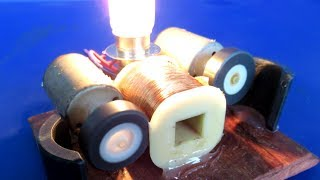 New Science Free energy generator light bulb by Running Motor - Easy experiment Tech 2018