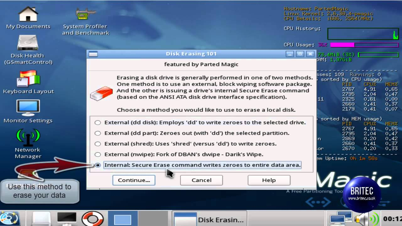 Secure Erase / Format With bootable CD/USB Linux Parted Magic by Britec