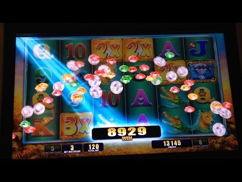 RAGING RHINO slot machine MEGA BIG WiN Bonus with Queen of Wild II WIN