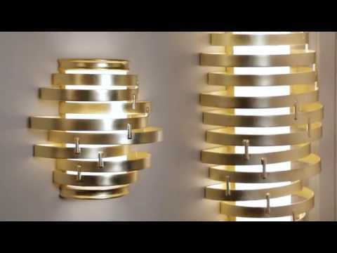 Video for Vertigo Gold Leaf with Polished Stainless Accents 23-Inch LED Pendant