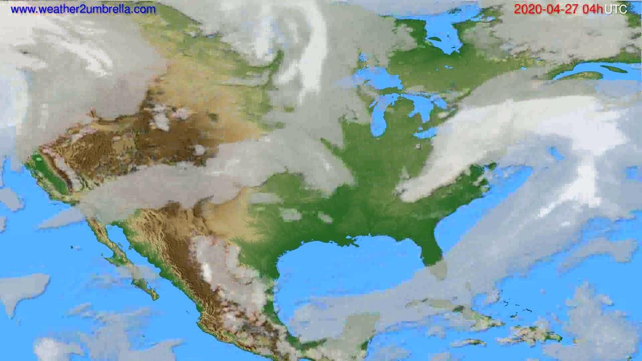Cloud forecast USA & Canada // modelrun: 12h UTC 2020-04-26