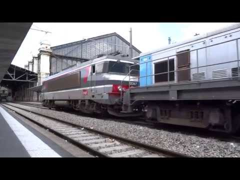 Départ d'un train de machines (TM) à Gare d'austerlitz.