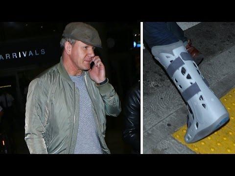 Gordon Ramsay Sporting Massive Walking Boot At LAX