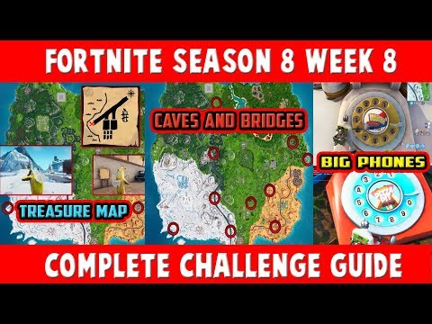 SEARCH THE TREASURE MAP SIGNPOST FOUND AT PARADISE PALMS - FORTNITE SEASON 8 WEEK 8 CHALLENGES