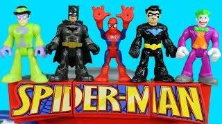 Imaginext Nightwing & Spider-man Save Batman From Joker Riddler Bane Penguin Just4fun290