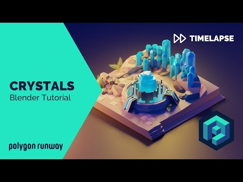 Crystals - Blender 2.8 Low Poly 3D Modeling Timelapse Tutorial