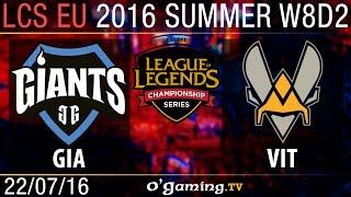 Vitality vs Giants - LCS EU Summer Split 2016 - W8D2
