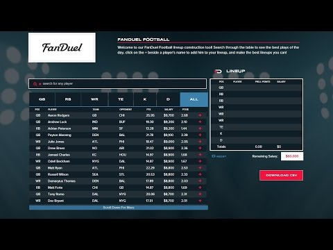 Daily Fantasy Sports Rankings' Lineup Construction Tool