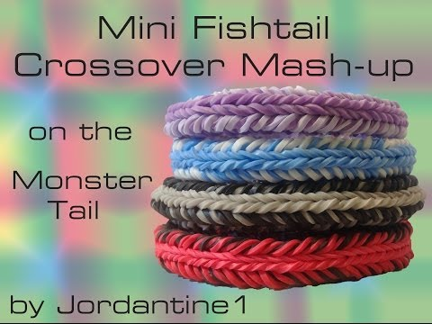 Mini Fishtail Crossover Mash-Up Reversible Bracelet- Monster Tail -Rainbow Loom
