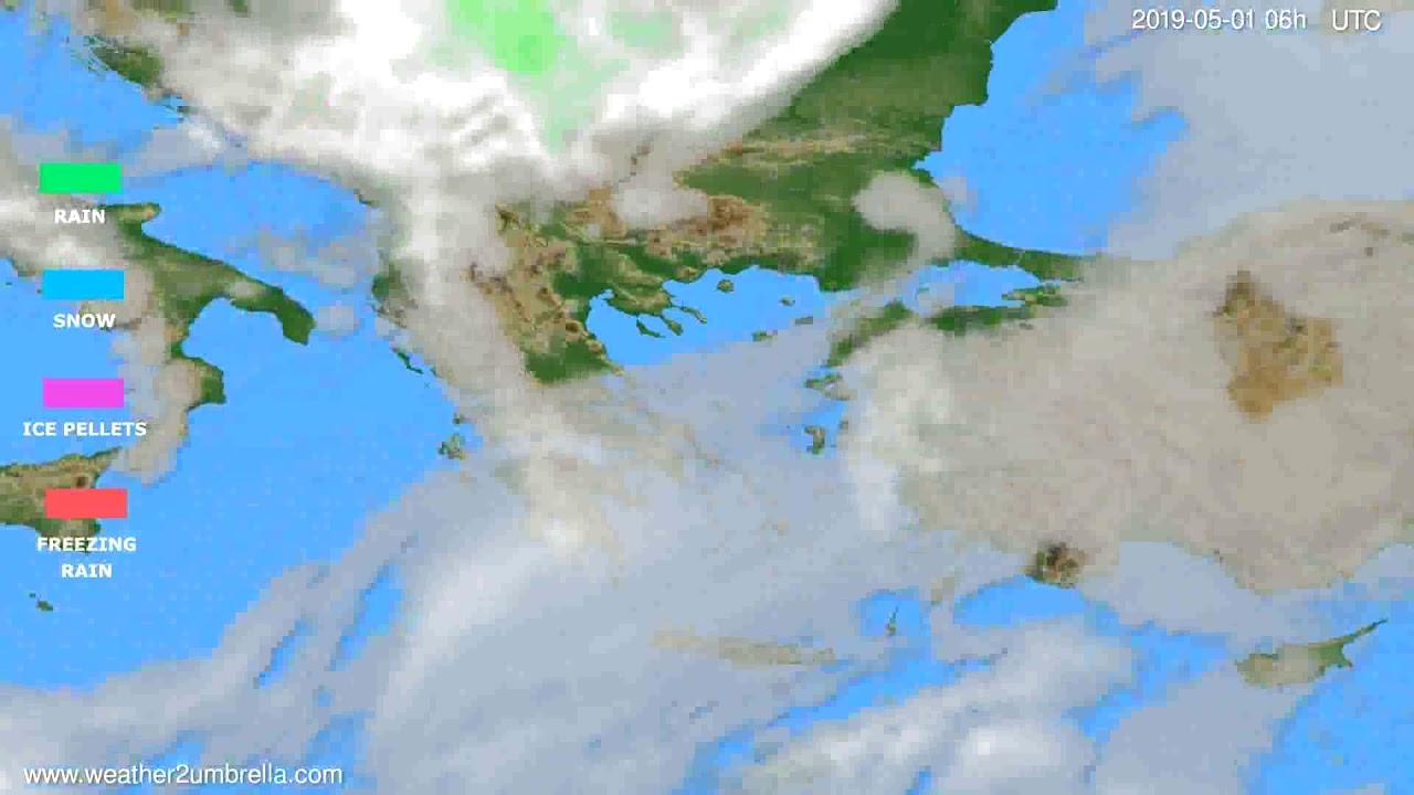 Precipitation forecast Greece // modelrun: 00h UTC 2019-04-29